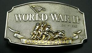 World War II Memorial Belt Buckle 1941-1945 Remembered 24k Gold
