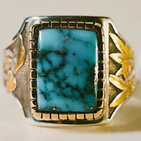 Handmade Men's Two-tone 18K Gold Turquoise Ring Maple Leaf Wedding Rings Jewelry