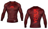 Venum Men's Nightcrawler Long Sleeve Rash Guard MMA BJJ Red