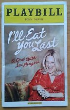 I'll Eat You Last Playbill programme Booth Theatre 2013 Bette Midler John Logan