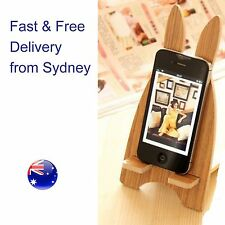 Wooden rabbit mobile charging holder - all phones iPhone and Galaxy Easter gift