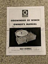 Hickey Enterprises Inc sidewinder complete manual vintage K5 K10 GM Truck Blazer