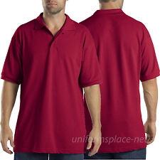Dickies Shirt Mens Short Sleeve Pique Polo Goft Shirts KS5552 Red Maroon White..