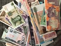 Uncirc/Circ Lot of 29 different Foreign PAPER MONEY BANKNOTES WORLD CURRENCY