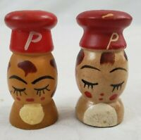 VINTAGE Peppy Pepper Shakers 2 EA. Wooden Hand Painted Circa 1960's