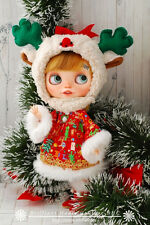 BHC FN673 Christmas Deer dress set for Kenner Blythe doll outfit