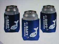 10 Hooked on Love SODA CAN COVERS INSULATOR fisherman wedding favors koozie