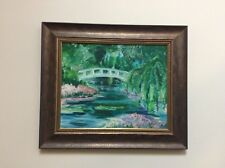 Hand-Painted Reproduction of Claude Monet's Japanese Bridge Framed Painting
