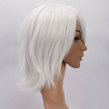 New Synthetic Hair Unisex Anime Short Straight Cosplay Hair Full Wig White