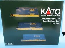 KATO N SCALE GUNDERSON MAXI-IV DOUBLE STACK CAR SET - TTX W/CSX CONTAINERS