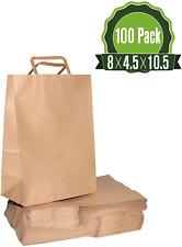8 X 4.5 X 10.5 Brown Kraft Paper Gift Bags Bulk with Handles [100Pc]