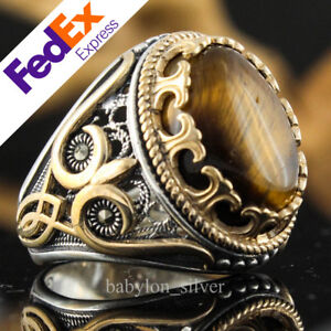 Natural Tiger's Eye Stone 925 Sterling Silver Turkish Handmade Men Ring All Size