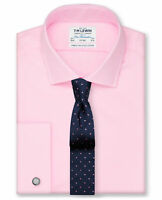 T.M.Lewin Men's Suit Shirt Oxford Double Cuff Business Formal Easy Iron - Pink