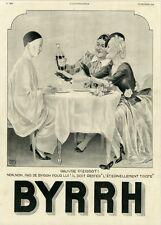 """""""BYRRH"""" Annonce originale entoilée L'ILLUSTRATION 1938 Georges LEONNEC(PIERROT)"""