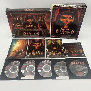 Diablo II Battle Chest Expansion Set Lord Dest 5 Discs VGC Strategy Guide PC/MAC