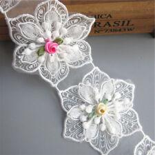 1 yd Vintage Embroidered Lace Edge Trim Ribbon Wedding Applique DIY Sewing Craft