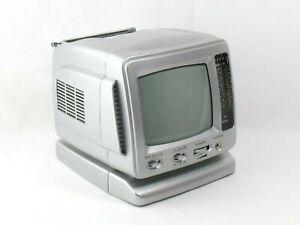 Fernseher retro 14cm Schwarz/Weiß Mini-TV Radio Tragbar Auto-fernseher Silber