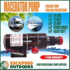 12 volt Macerator Sewage Waste Water Pump Boat Toilet Marine Caravan 49 L/pm
