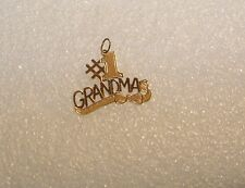 14K YELLOW GOLD #1 GRANDMA WITH BOW PENDANT CHARM N619-M