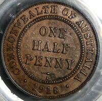 1918-I PCGS XF 45 Australia 1/2 Penny George V Bombay Key Date Coin (20010702C)
