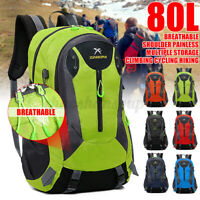 80L Extra Large Hiking Backpack Travel Camping Cycling Outdoor Waterproof Bag US