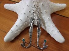 Silver Toned Handmade Mermaid Earrings