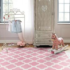Pink Ivory Floor Rug Super Soft Trellis Moroccan Diamond Kids Carpet 120x170cm