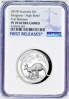 2019 P Australia HIGH RELIEF 1oz Silver Kangaroo $1 Coin NGC PF70 FR Blu Label