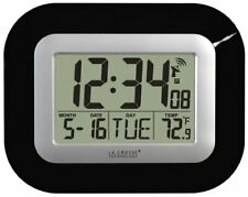 La Crosse  WT-8005U-B Atomic Digital Wall Clock with Indoor Temperature, Black
