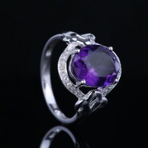 Valentine's Day Amethyst Natural SI/H Diamond Gemstone Ring Solid 10k White Gold