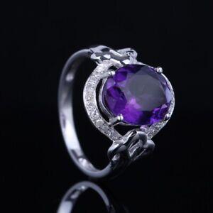 Valentine's Day Amethyst Natural SI/H Diamond Gemstone Ring Solid 10k White Gold