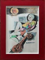 Alberto Bolzonella litografia colorata a mano Arlecchino 50x35 firmata rif 4684