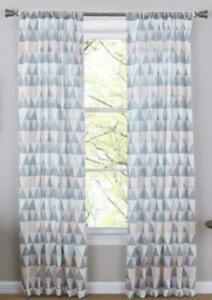 "Mainstays Geo Triangle Panels Curtains DrapesSet of 2 Blush & Grey 50"" x 85"""