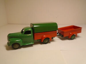DINKY TOYS FRANCE #25Q-F STUDEBAKER COVEREDPICK-UP WITH TRAILER  RESTORED NMINTY