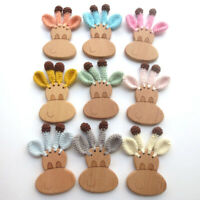 Giraffe Organic Beech Wooden Crochet Pram Toy Baby Teething Rattle Teether Gifts