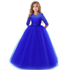 New Girls Royal Blue Chiffon Dress Wedding Easter Flower Girl Party Fancy 6420