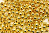 4mm Gold Plated Round Smooth Spacer Beads Jewellery Findings Craft Beading ML