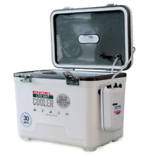 Fishing Dry Box Cooler with Pull Net 30 Qt. Hard Sided Live Bait Keeper White
