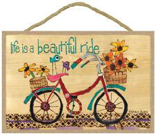 Life is a beautiful ride Stephanie Burgess Painted Peace Bike Cute Wood Sign 449