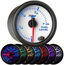 GlowShift 52mm White 7 Color LED Adjustable Fuel Level Gauge -GS-W715
