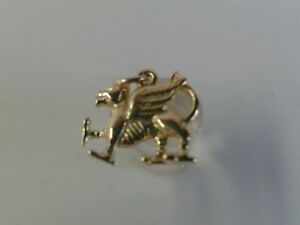 9ct Gold Solid Welsh Dragon Pendant. Hallmarked.