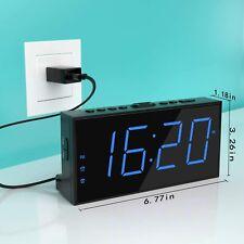 Rocam Digital Alarm Clock, 7' Large Led Screen, 5 Brightness, Dual Alarm, Easy
