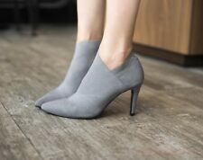 Pointed Toe Sexy Stiletto Heels Womens Ankle Boots Pull On Suede Fashion Shoes
