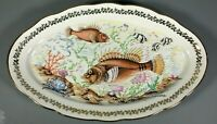 Vintage French Oval Porcelain Fish Serving Platter Tray Gilt Gold Limoges Plate