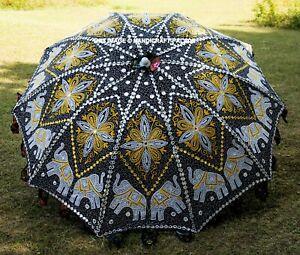 Indien Noir Couleur Éléphant Broderie Séquence Jardin Fleur Parapluies Parasols