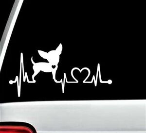 Chihuahua Heartbeat Lifeline Dog Decal Sticker Car Truck SUV Van Laptop K1002