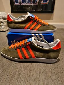 Adidas OG Gazelle Olive Green & Custom Neon Orange Stripes - UK 11 EU 46