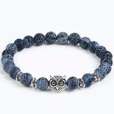 "Owl Stone Bracelet 7"" 18cm Beaded 8mm Agate Charm Blue Silver Stretchable"