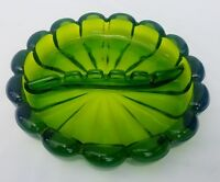 "8"" Vintage Viking Art Glass Ashtray Green Mid Century Ribbed Scalloped"