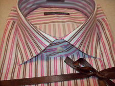 Peter Millar Pick Stitch Collection Spread Collar Striped Sport Shirt NWT $168